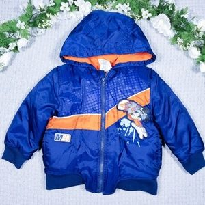 Disney Mickey Mouse blue/orange hooded Winter coat